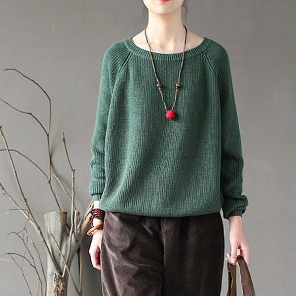 Autumn Basic Cotton Solid Loose Short Women Sweater
