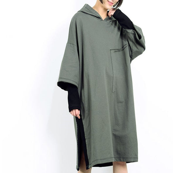 Spring Linen Loose Splicing Round Neck Dress - Buykud