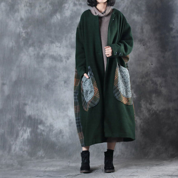 Women Loose Coat Woolen Winter Green Coat
