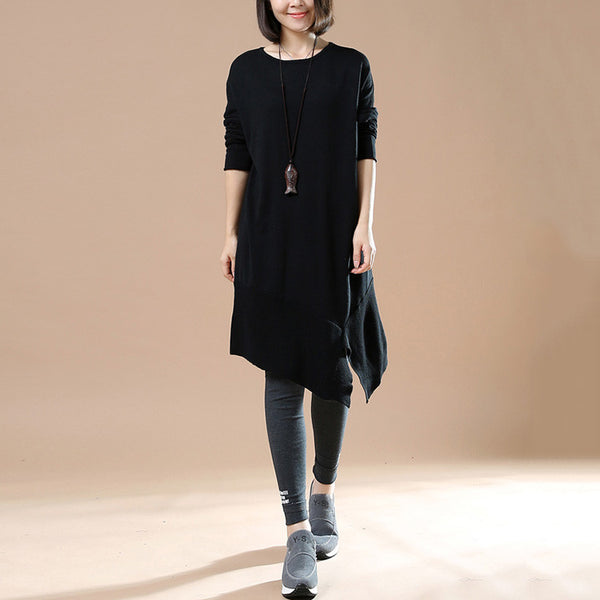 Women's Autumn Long Sleeve Round Neck Loose Black Sweater Dress