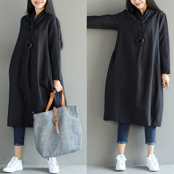 Loose Irregular Casual Women Folded Black Dress