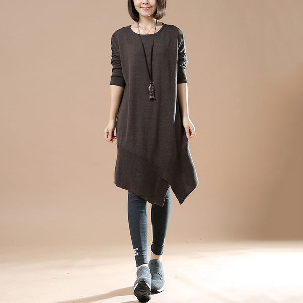 Women's Autumn Long Sleeve Round Neck Loose Dark Brown Sweater Dress