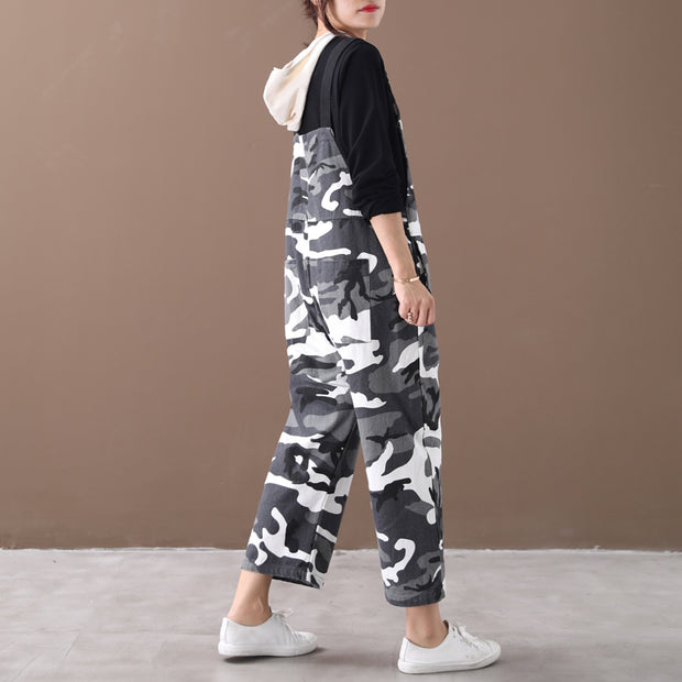 Buykud Retro Casual Big Pockets Camouflage Overalls