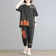 Cartoon Patchwork And Embroidery Two Piece Set