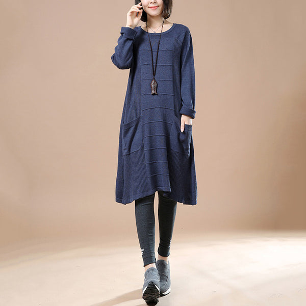 Women's Autumn Long Sleeve Round Neck Loose Sweater Blue Dress