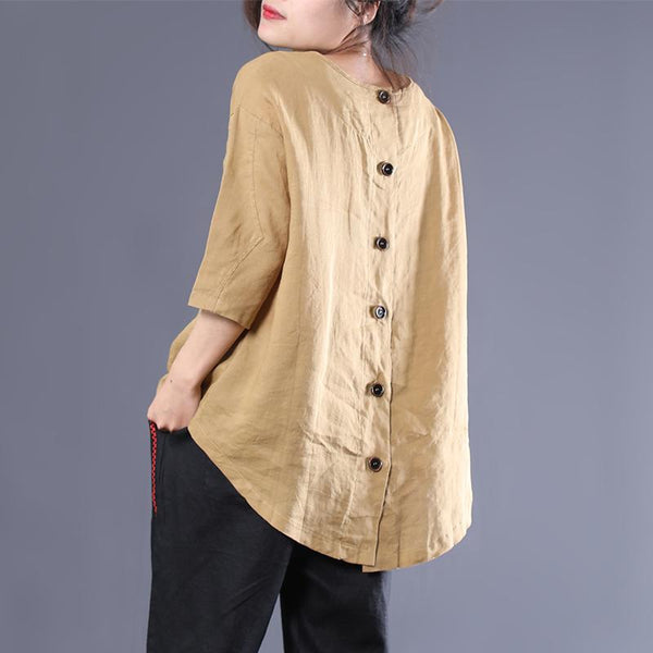 Cotton Linen Loose Solid Pockets Blouse