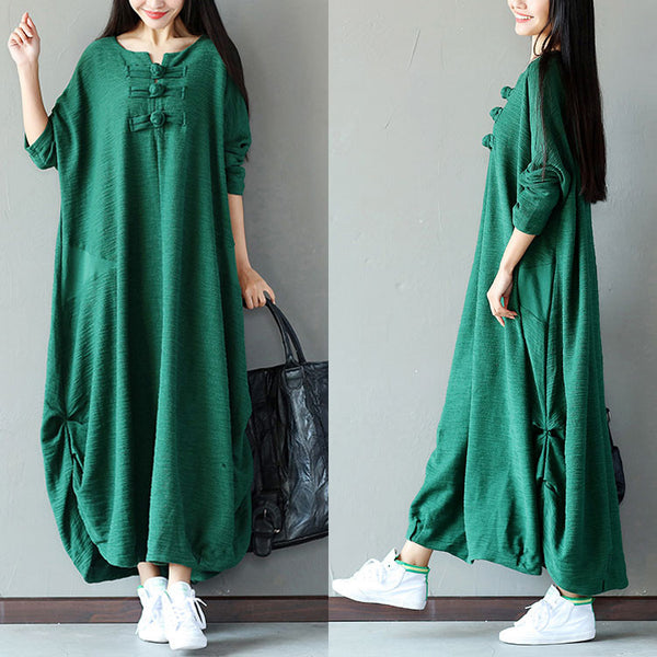 Spring Women Frog Casual Loose Green Dress