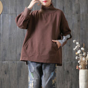 Autumn Cotton Patchwork Stripe Sleeve Casual Sweatshirt