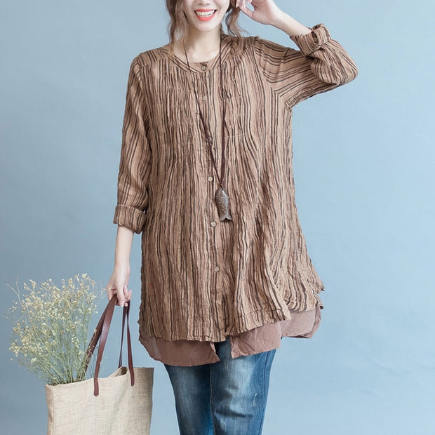 Women cotton linen loose blouse shirt - Buykud