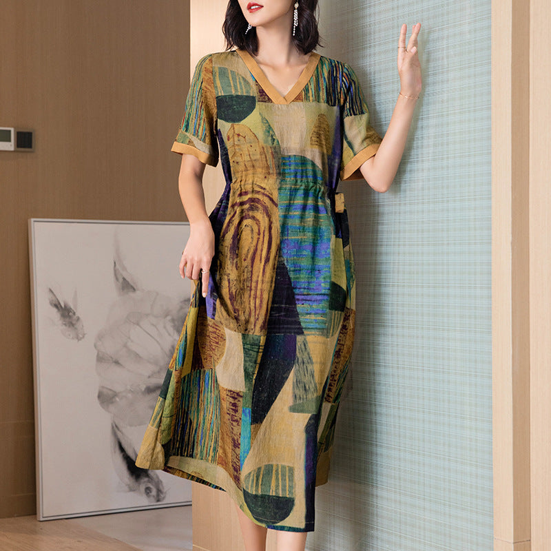 Plus Size Summer V Neck Short Sleeve Loose Ramie Dress