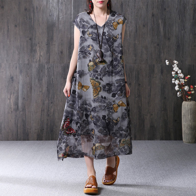 Summer Women Silk Printing V Neck Short Sleeve Gray Dress - Buykud