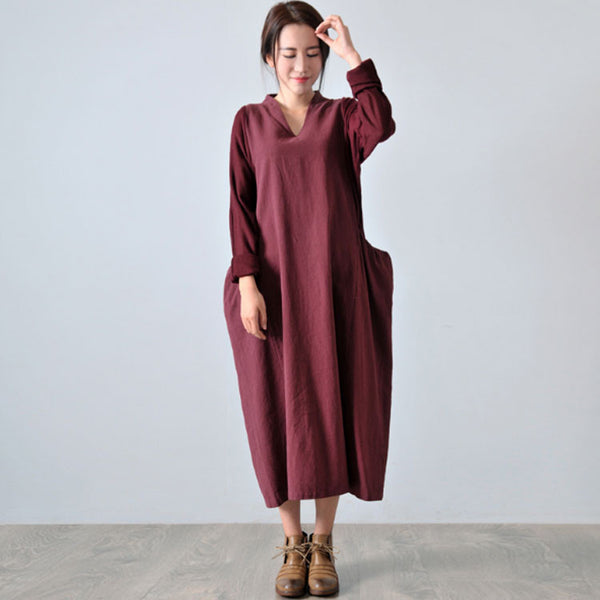 Women's Autumn Long Sleeve Knit Stitching Cotton Linen Dress - Buykud