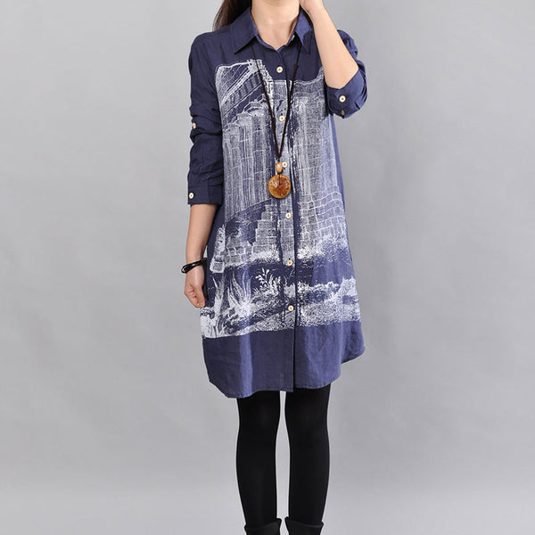 Casual Women Loose Cotton Blue Straight Shirt