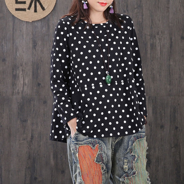 Literature Flouncing Dots Casual A-line Hem Black Shirt - Buykud