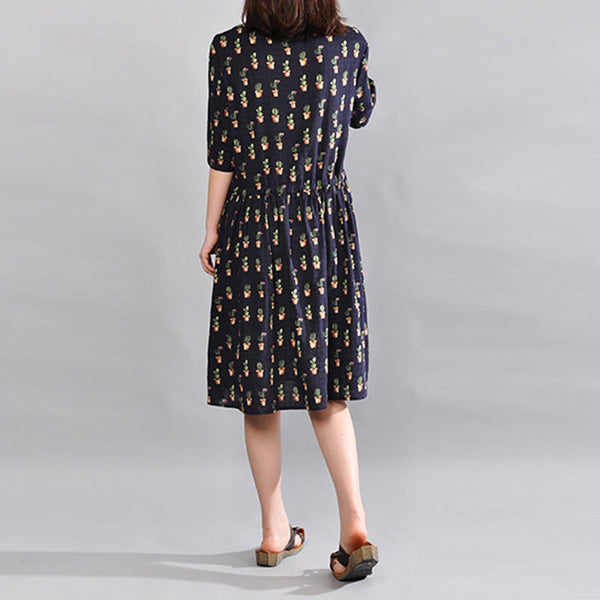Casual Chic Pocket Floral Navy Blue Dress