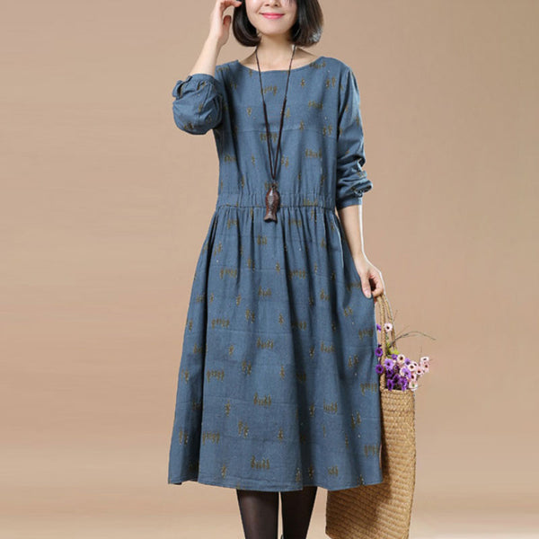 Literature Chic Printing Long Sleeves Splicing Pleated Blue Women Dress - Buykud
