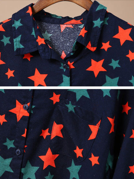 Spring Long Sleeves Little Stars Long Shirt