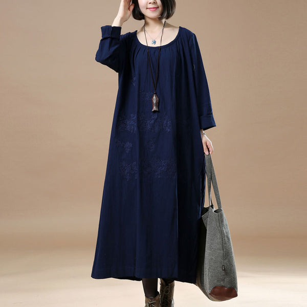 Cotton Embroidered Round Neck Blue Dress - Buykud