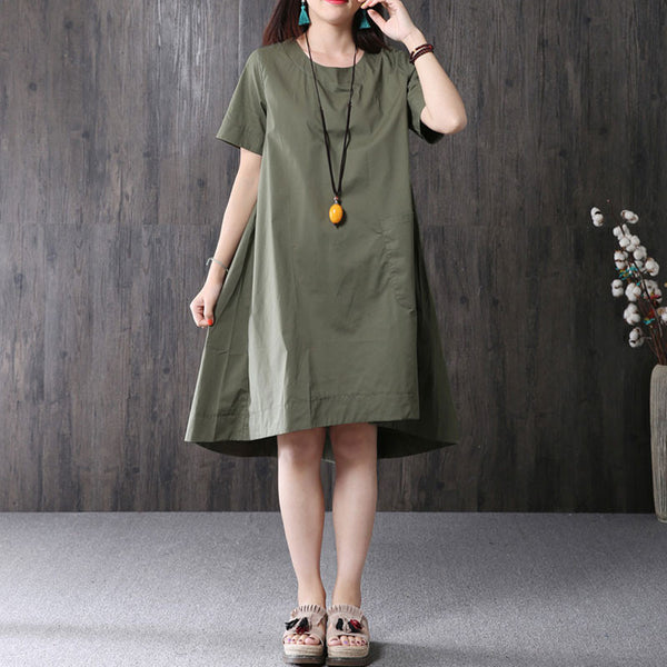 Women Cotton Short Sleeve Big Pocket Simple Army Green Dress