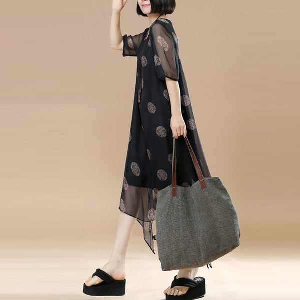 Printing Dot Women Loose Silk Irregular False Two Pieces Black Dress