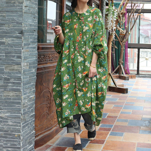 Cotton Women Loose Casual Spring Retro Printing Floral Green Dress