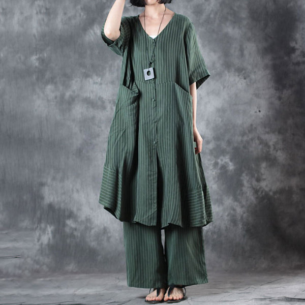 Loose Stripe Suit V Neck Shirt Wide Leg Pants