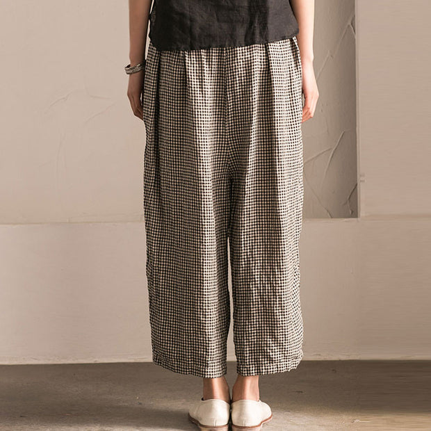 Irregular Women Lattice Loose Linen Cotton Long Pants - Buykud