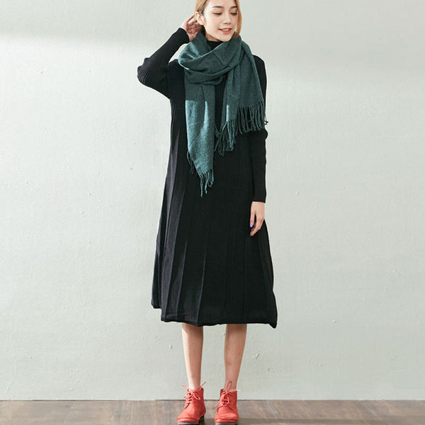 Black Cotton Knit Dress