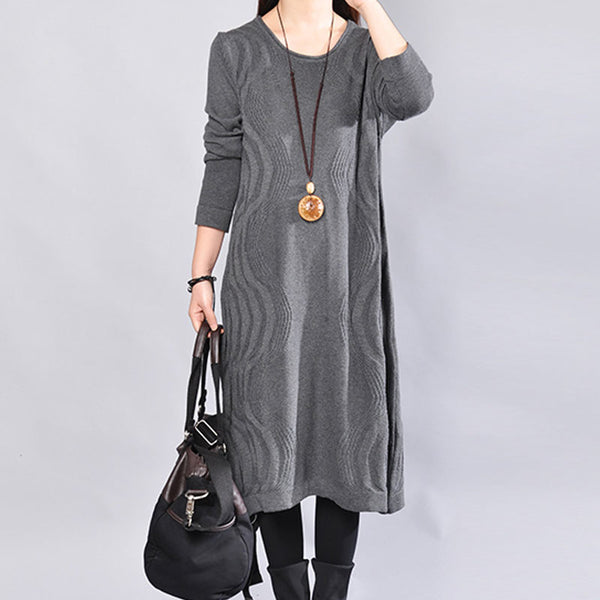 Chic Jacquard Round Neck Long Sleeves Women Dark Gray Sweater Dress - Buykud