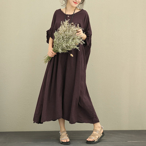 Women Retro Loose Lantern Sleeve Purple Dress
