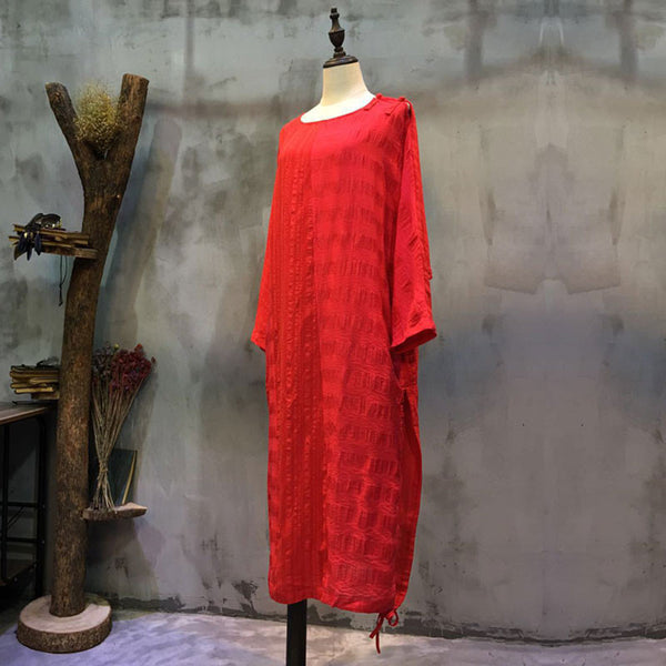Linen Jacquard Women Loose Red Dress