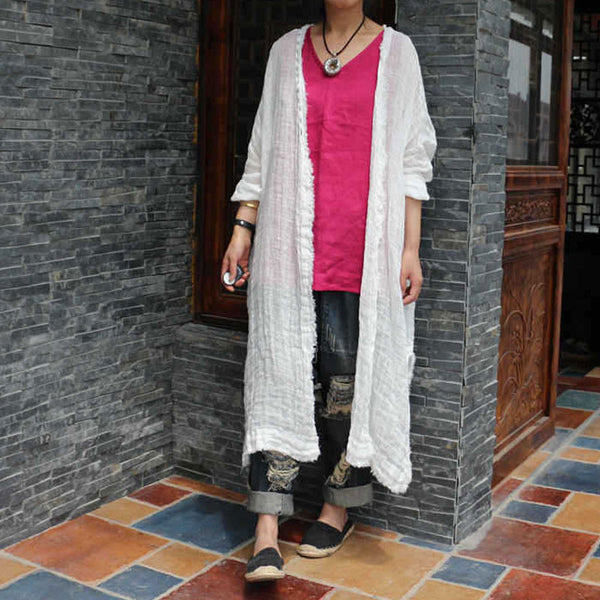 Linen Retro Women Loose Splitting Casual White Coat - Buykud