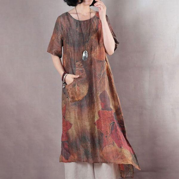 Printing Retro High-low Hem Summer Short Sleeve Brown Dress