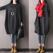 Black Cotton Round Neck Dress - Buykud