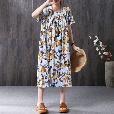 Summer Women Floral Ruffles Loose Short Sleeve Light Blue Dress - Buykud