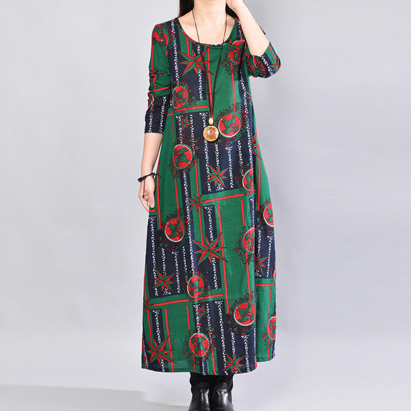 Casual Loose Printing Cotton Mixed Color Long Sleeves Green Dress