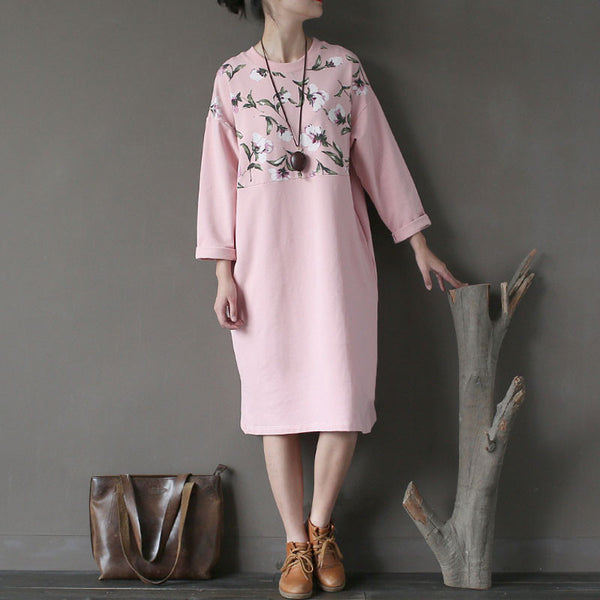 Casual Printing Women Loose Splicing Pink Cotton Dress