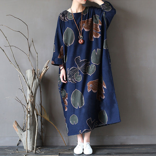Retro Long Sleeved Dress Gown