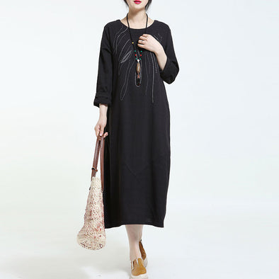 Spring Retro Cotton Embroidered Black Dress - Buykud