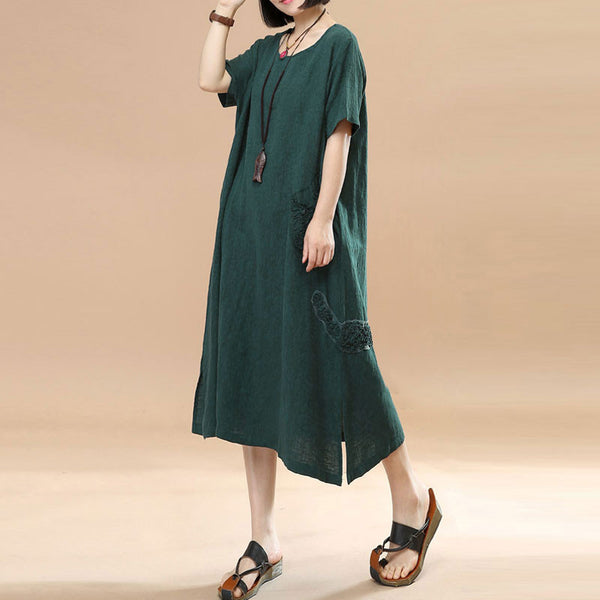 Jacquard Short Sleeve Women Casual Green Dress - Buykud