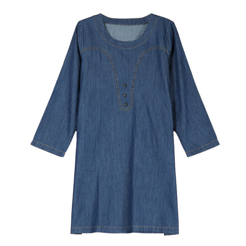 Casual Round Neck Loose Denim Dress - Buykud