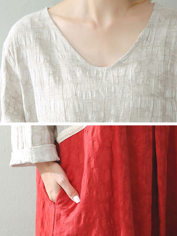 Cotton And Linen Round Neck Loose Dress - Buykud