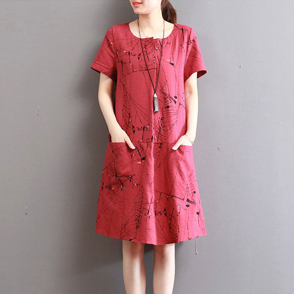 Summer Loose Printing Pocket Cotton Linen Red Dress - Buykud