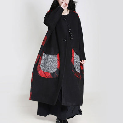 Literature Keep Warm Big Pockets Long Sleeves Black Women Coat - Buykud