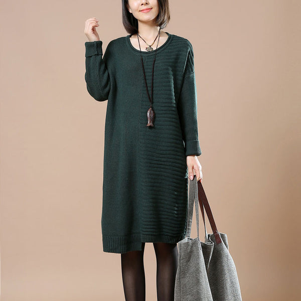 Dark Green Striped Casual Sweater
