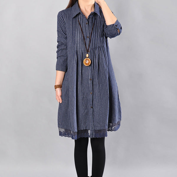 Loose Cotton Printing Lace Hem Blue Dress