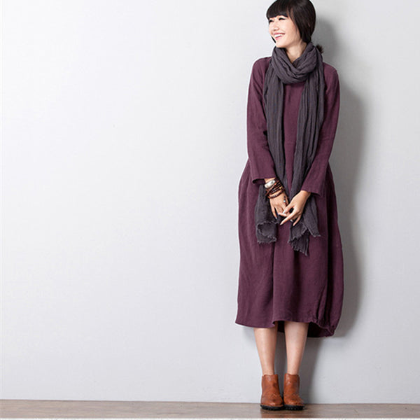 Women Casual Loose Cotton Linen Long Sleeve Dress