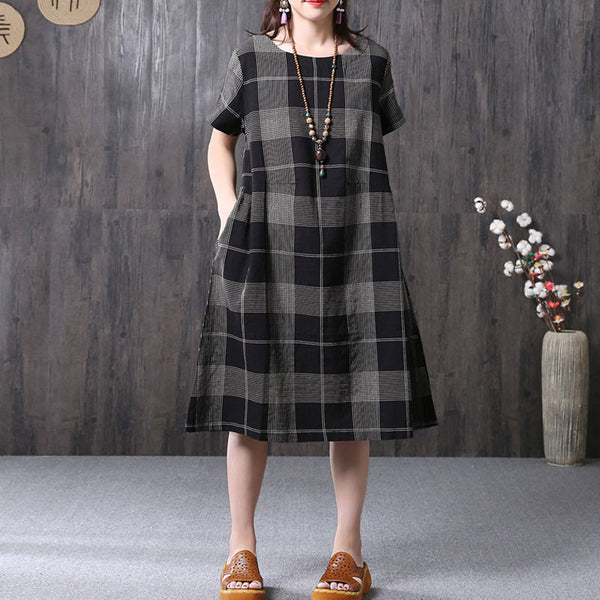 Retro Lattice Loose Casual Women Summer Cotton Linen Black Dress - Buykud