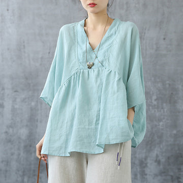 Summer Loose V Neck Loose Women Shirt
