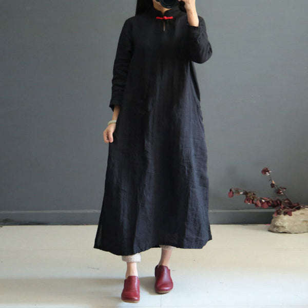 Women Literature Retro Linen Stand Collar Long Sleeves Black Dress - Buykud